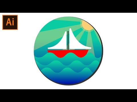 Illustrator Tutorial - Sailboat icon simple tools (Illustrator Flat Design Tutorial) thumbnail