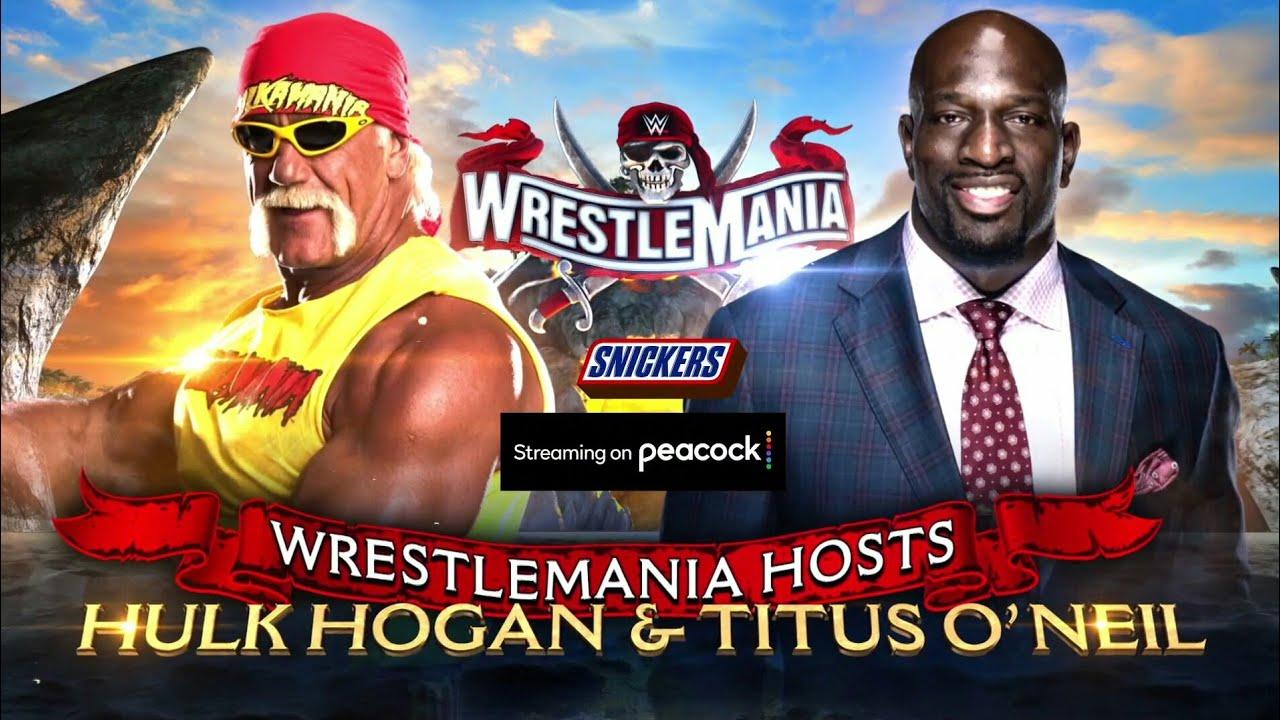 WrestleMania 37 - Hulk Hogan & Titus O' Neil Host Match Card - YouTube