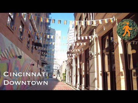 Cincinnati, Ohio Downtown Walk - 4K virtual walk - slow tv