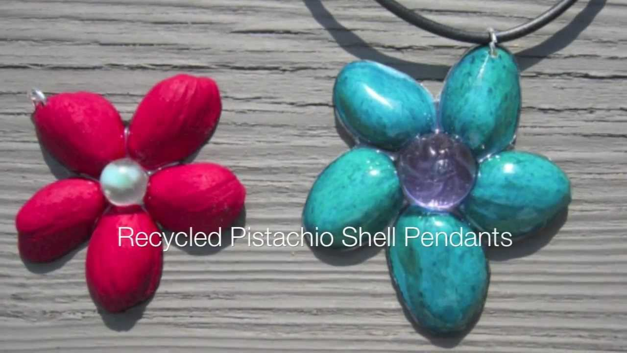 Recycled pistachio shell resin pendant youtube for Wealth out of waste craft work
