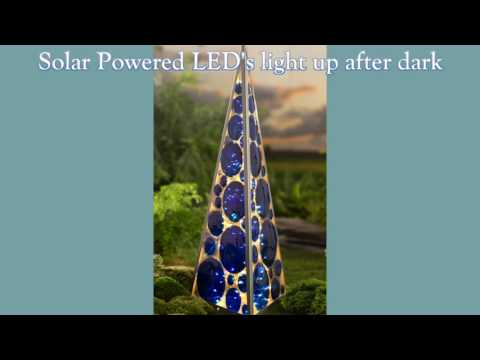 Solar Lighted Metal and Glass Pyramid SKU# GO7750 - Wind & Weather