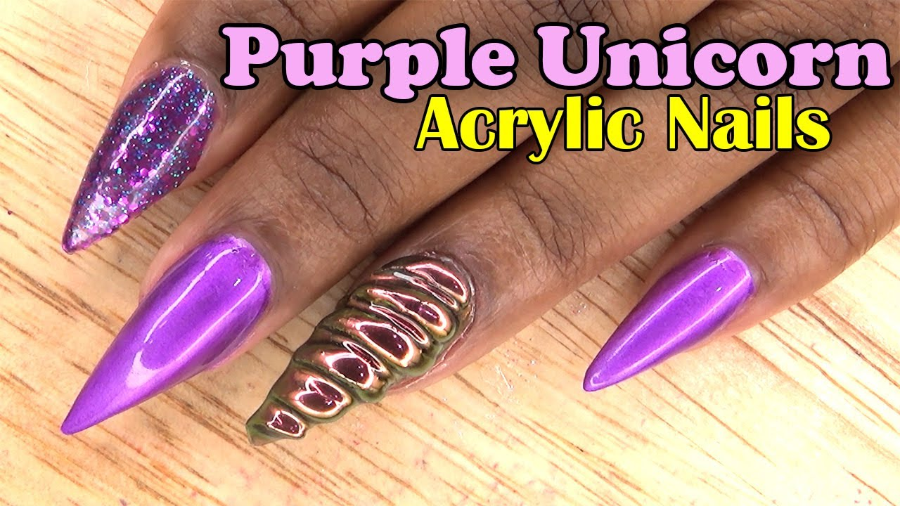 Purple Unicorn Acrylic Nails | Naio Nails Gel Polish ...