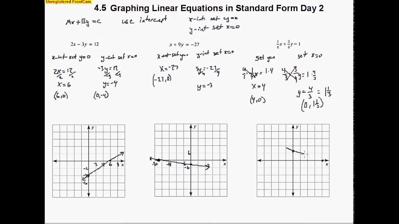 4 5 Graphing Linear Equations In Standard Form Day 2 Youtube