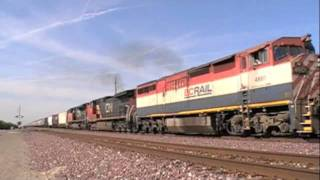 BNSF Officer Specials & A BC-Rail Unit Leading, Hanford, CA