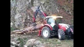 Steyr Profi mit Rückekran Beha BR 5700 im Starkholzeinsatz