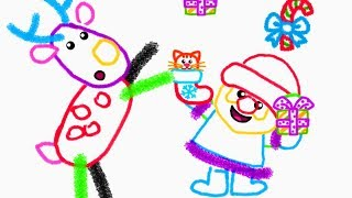 Drawing Christmas For Baby - Play With Funny Christmas Characters - Educational Baby Games