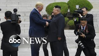 Trump becomes 1st sitting president to step into North Korea