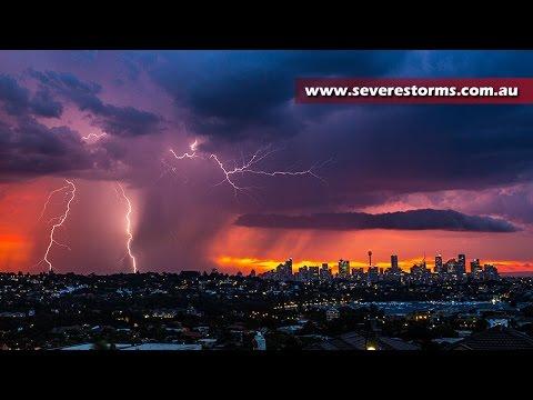 Sydney lightning storm lights up the night sky