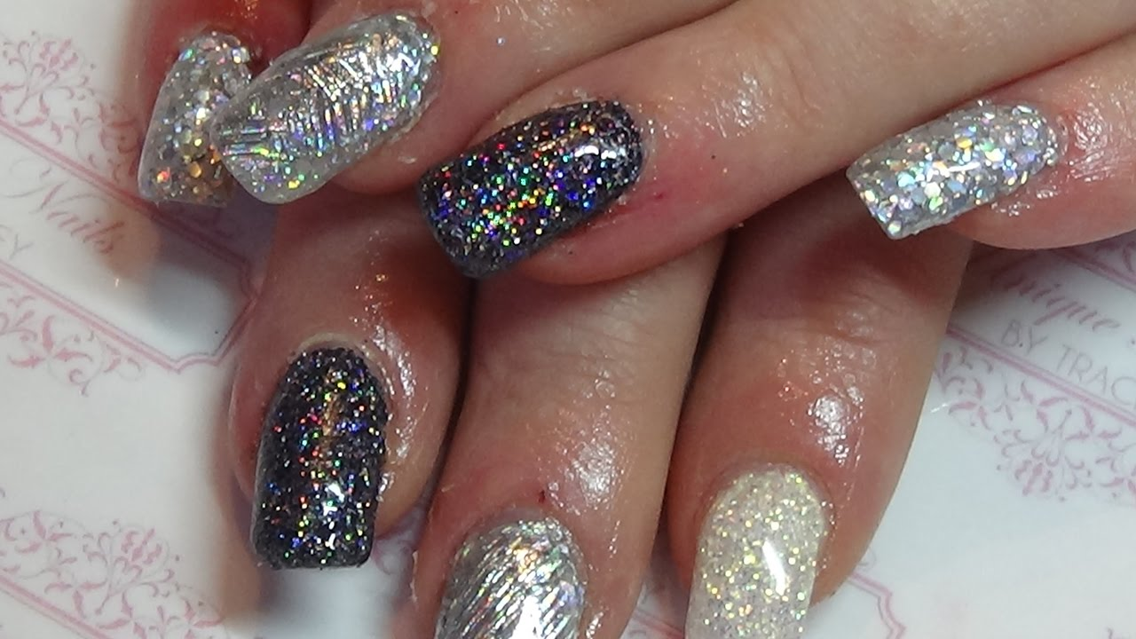 Fashion style Silver and black glitter acrylic nails for woman