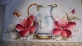 Pintura em Tecido – Aprenda Pintar Hibisco Vermelho, Borboleta e Folhas