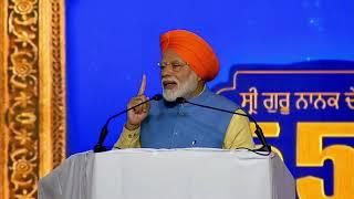 PM Modi addresses a Sikh gathering at Dera Baba Nanak, in Punjab