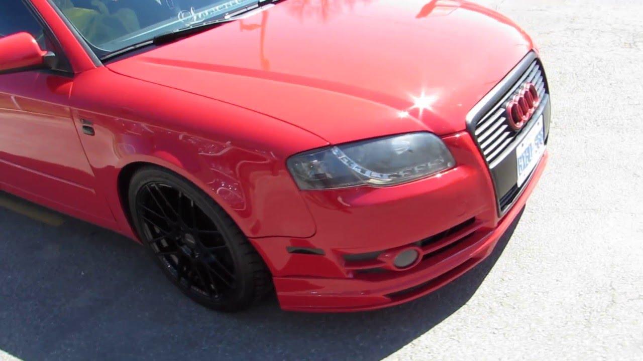 2006 Red Audi A4 Slammed On Custom 18 Inch Gloss Black Rims Tires