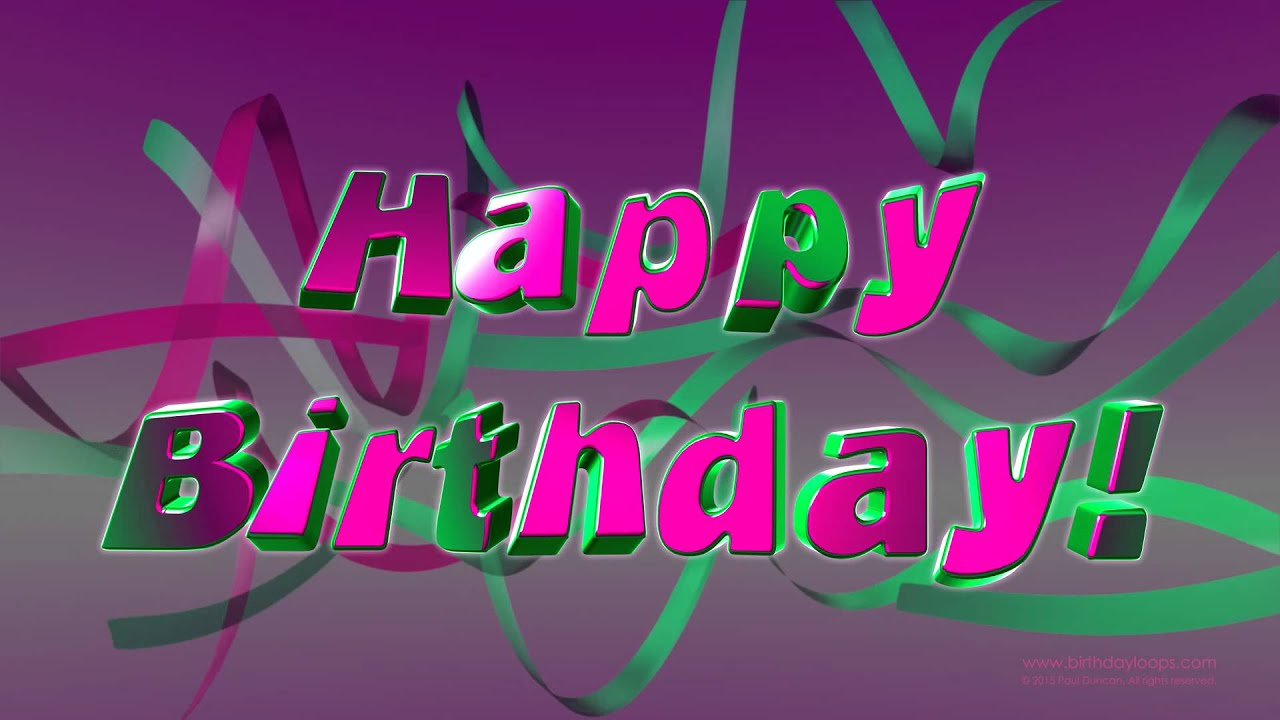 Birthdayloops Happy Birthday Pink And Green Ribbons Youtube
