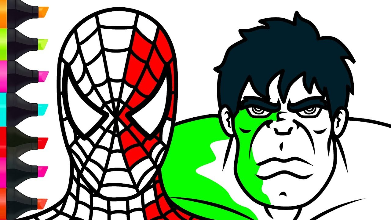 Spiderman Hulk Coloring Pages Learn Colors With Superheroes For