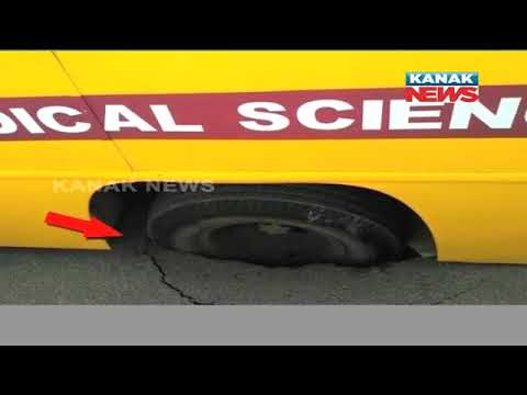 Road Caves In Near Power House Square In Bhubaneswar