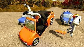 CRASH TEST DUMMY EJECTED AFTER ROLLOVER! - BeamNG Drive Maluch Crashes, Chases, and Rag-doll Physics