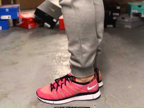 nike free flyknit nsw quotpink flashquot onfeet video at