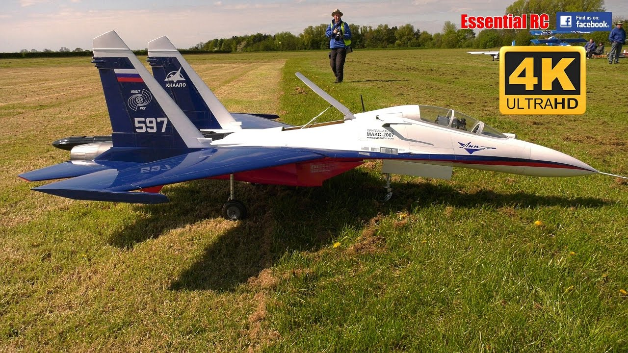 GIANT SCALE Sukhoi SU-27 TWIN ENGINE JET (CARF Models) [*UltraHD and 4K*]. Essential RC