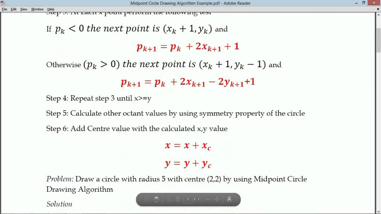 Line Drawing Midpoint Algorithm : Midpoint circle drawing algorithm youtube