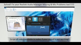realtek hd audio manager missing