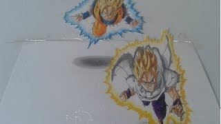 Drawing 3D SSJ2 Goku and Gohan from dragon ball z