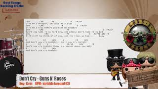 🥁 Don't Cry - Guns N' Roses Drums Backing Track With Chords And Lyrics