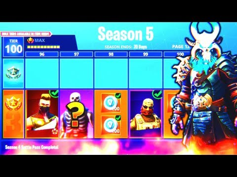 Fortnite SEASON 5 MAX BATTLE PASS UNLOCKED! (NEW SKINS) - FULLY UPGRADED