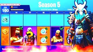"Fortnite SEASON 5 MAX BATTLE PASS UNLOCKED! (NEW SKINS) - FULLY UPGRADED ""RAGNAROK"" + ""DRIFT"" SKINS!"