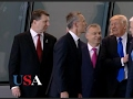 Raw Trump Pushes Past Montenegro PM at NATO USA Election News 2016