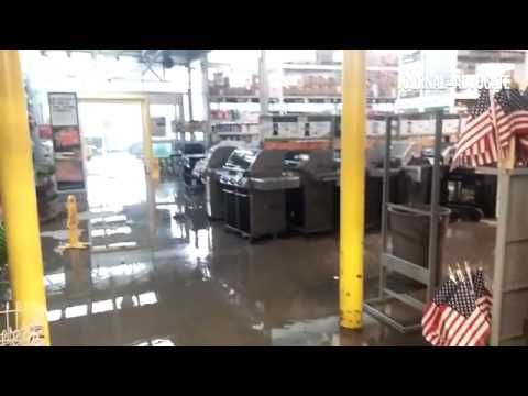 Inside Home Depot during the rain