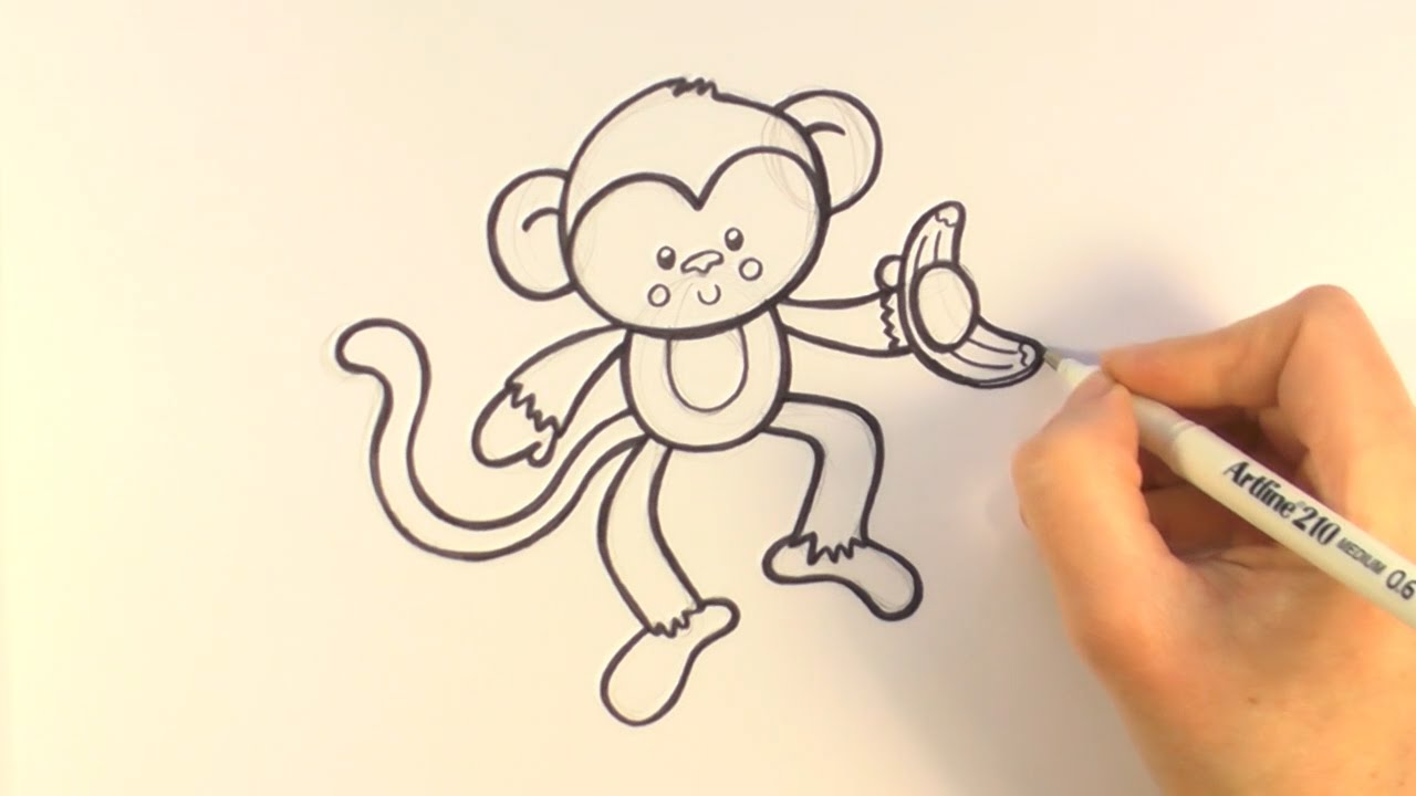 How To Draw A Cartoon Monkey Holding A Banana Youtube