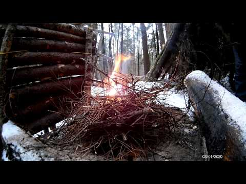 bushcraft-camp,-made-a-coffee-table-from-logs,-cooked-potatoes-with-sausage-in-the-camp,-no-talking.