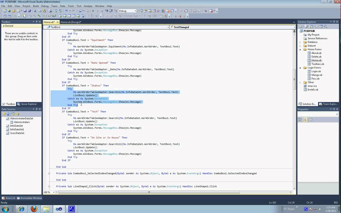visual studio work order program code youtube