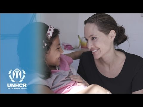 Angelina Jolie Pitt gives hope to refugee Leemar in Azraq Camp, Jordan