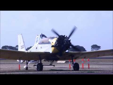 PZL-Mielec M-18 Dromader fires up (literally) at Hamilton Vic Australia