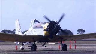 PZL-Mielec M-18 Dromader fires up (literally) at Hamilton Vic Australia