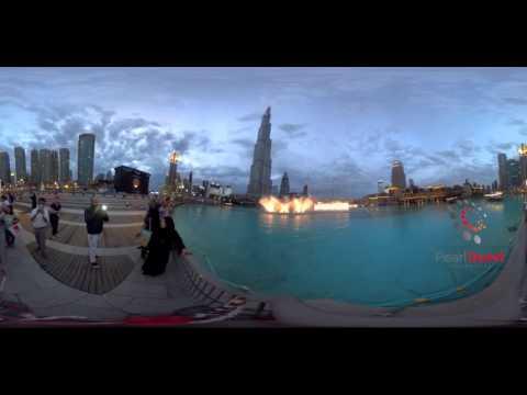 Dubai Mall Fountains on Michael Jackson's Thriller  | 360 4K VR