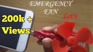 how to make a micro usb fan for mobile at home / emergency