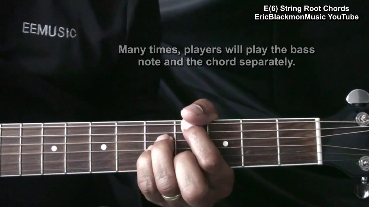 How To Play Low E String Root Chords On Guitar Maj Min Maj7 Min7