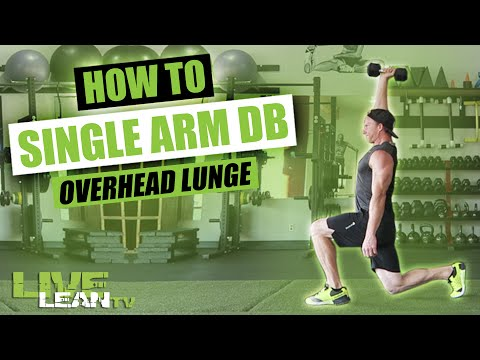 How To Do A SINGLE ARM DUMBBELL OVERHEAD LUNGE | Exercise Demonstration Video and Guide