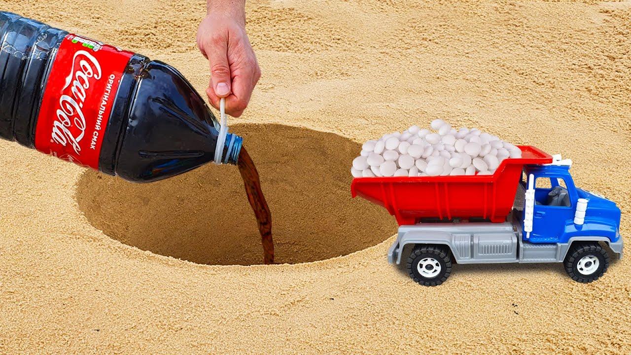 Dump Truck with Mentos vs a lot of Coca-Cola