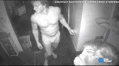 Naked men caught on camera stealing bacon