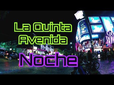 La Quinta Avenida en PLAYA DEL CARMEN de noche (2017) - Vlog aventura #22