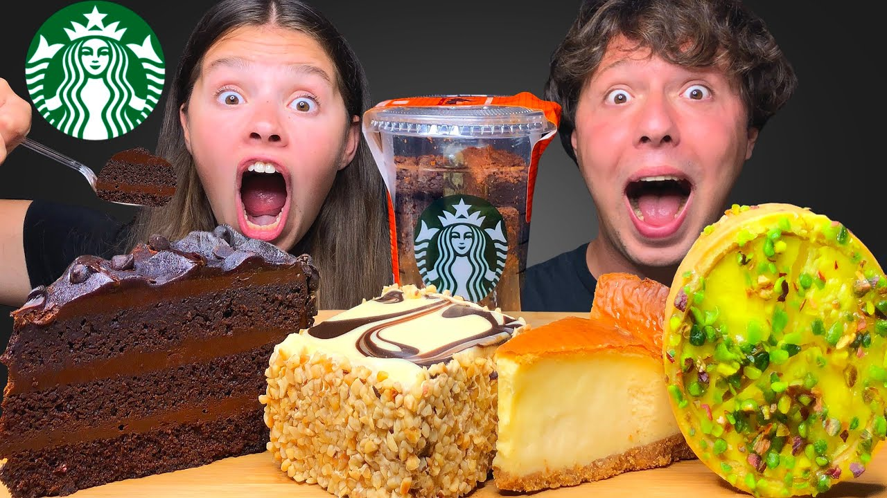 ASMR STARBUCKS! CHOCOLATE CAKE, COFFEE CAKE, CHEESECAKE, BROWNIES MUKBANG EATING SOUNDS 먹방