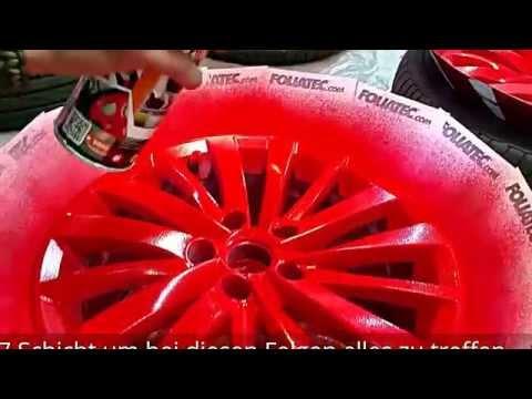 FOLIATEC.com Sprühfolie Rot glänzend Felgen folieren Dip Your Rims red glossy