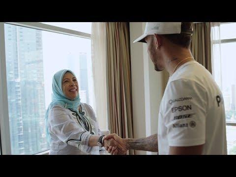 A Special Surprise! Lewis Hamilton Meets F1 Super Fan Aunty Min