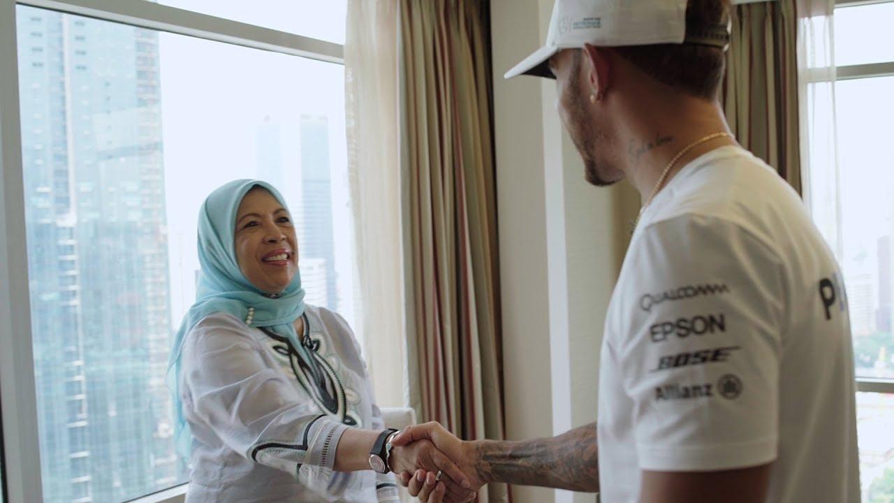 A Special Surprise Lewis Hamilton Meets F1 Super Fan Aunty Min