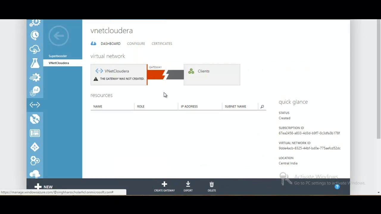 Configure a Point-to-Site connection to a VNet azure using the classic  portal part 1
