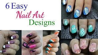 6 Easy Nail Art Designs for Beginners | Nail Art Tutorial