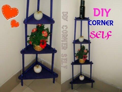Diy Corner Self Room Decoration Idea Organizer Made With Cardboard